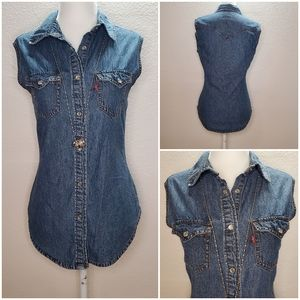 Levi's sleeveless denim snap front top size small
